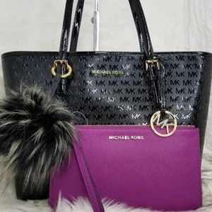 MICHAEL  KORS 3PCS SET bag OVERSIZED wallet POM